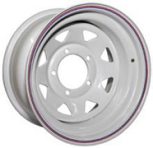 Диск колёсный стальной штампованный посадка 5x139.7 УАЗ размер 7х15 вылет ET 0,  центральное отверстие D 110 цвет: белый можно купить в 4x4mag.ru