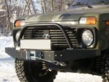 Передний силовой бампер OJ с площадкой лебёдки со съёмной дугой на ВАЗ 2121, 2131 (Нива/Lada 4х4) можно купить в 4x4mag.ru