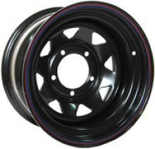 Диск колёсный стальной штампованный посадка 5x139.7 УАЗ размер 8х15 вылет ET -25,  центральное отверстие D 110 цвет: черный. можно купить в 4x4mag.ru